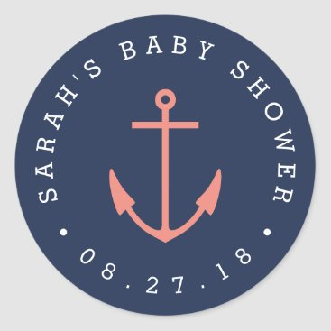 Toddler & Baby themed Nautical Coral and Navy Anchor Baby Shower Classic Round Sticker