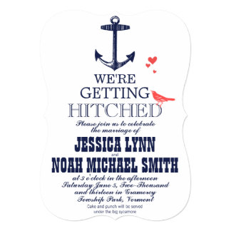 Nautical Coral and Navy Anchor Love Bird Wedding 5x7 Paper Invitation Card