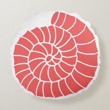 Beach Themed Nautical Coral and Navy Seashell Round Pillow