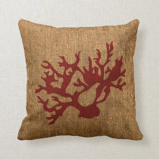 Nautical Coral in Rustic Red Pillows