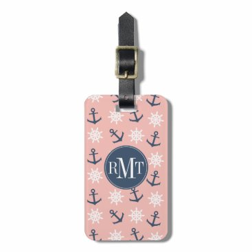 Nautical coral navy blue anchor and wheel pattern bag tag