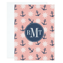 Nautical coral navy blue anchor and wheel pattern card