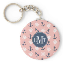 Nautical coral navy blue anchor and wheel pattern keychain