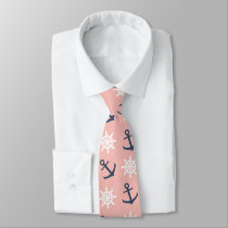 Nautical coral navy blue anchor and wheel pattern neck tie