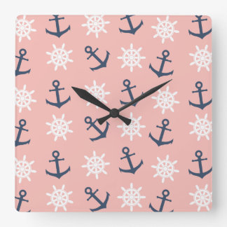 Nautical coral navy blue anchor and wheel pattern square wall clock