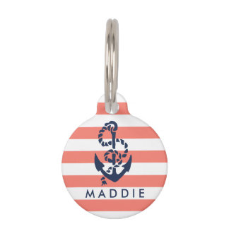 Nautical Coral & Navy Stripe Anchor Personalized Pet ID Tag