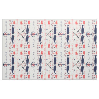 Nautical Coral Orange Navy Whales Ropes and Banner Fabric
