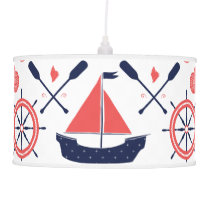 Nautical Coral Orange Navy Whales Ropes and Banner Pendant Lamp