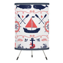 Nautical Coral Orange Navy Whales Ropes and Banner Tripod Lamp