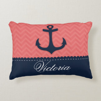 Nautical Coral Pink Navy Blue Anchor Custom Name Accent Pillow