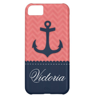 Nautical Coral Pink Navy Blue Anchor Custom Name iPhone 5C Cover