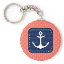 Nautical Coral Polka Dot Pattern Navy Blue Anchor Keychain