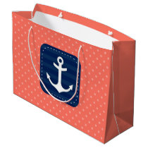Nautical Coral Polka Dot Pattern Navy Blue Anchor Large Gift Bag