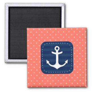 Nautical Coral Polka Dot Pattern Navy Blue Anchor Magnet