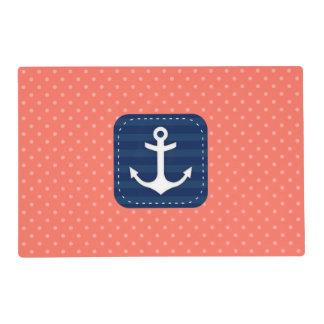 Nautical Coral Polka Dot Pattern Navy Blue Anchor Placemat