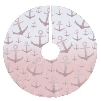 Nautical coral rose gold glitter anchor pattern brushed polyester tree skirt