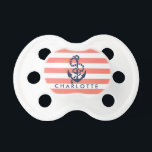 "Nautical Coral Stripe Anchor Personalized Pacifier<br><div class=""desc"">Design features a rope and anchor illustration in classic navy blue on a coral and white stripe background. Personalize with a name or text of your choice. Coordinating accessories available in our shop.</div>"