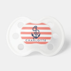 Nautical Coral Stripe Anchor Personalized Pacifier at Zazzle