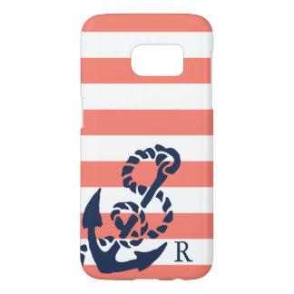 Nautical Coral Stripe & Navy Anchor Monogram Samsung Galaxy S7 Case