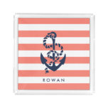 Nautical Coral Stripe & Navy Anchor Personalized Acrylic Tray
