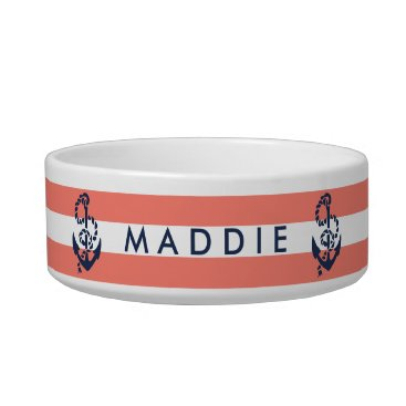 Beach Themed Nautical Coral Stripe & Navy Anchor Personalized Bowl
