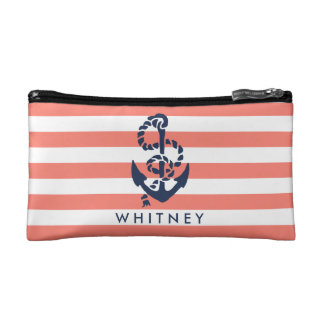 Nautical Coral Stripe & Navy Anchor Personalized Cosmetic Bag