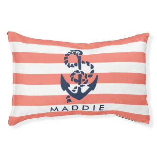 Nautical Coral Stripe Navy Anchor Personalized Dog Bed
