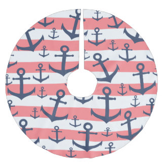 Nautical coral stripe navy blue anchor pattern brushed polyester tree skirt