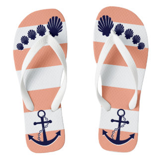 Nautical Coral Striped Navy Anchor Seashell Toes Flip Flops