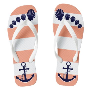 Beach Themed Nautical Coral Striped Navy Anchor Seashell Toes Flip Flops