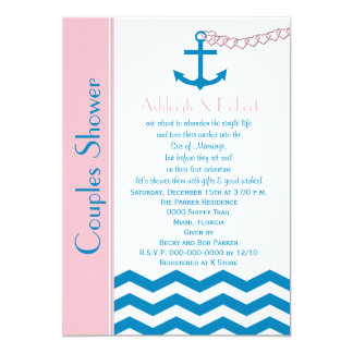 Nautical Couples Coed Wedding Shower Invitation