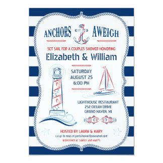 "Nautical Couples Shower Invitation 5"" X 7"" Invitation Card"