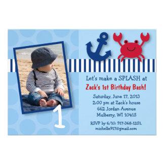 Nautical Crab Birthday Invitations