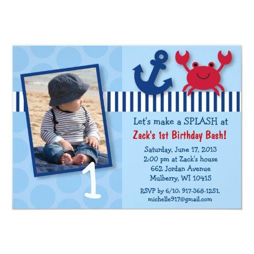 "Nautical Crab Birthday Invitations 5"" X 7"" Invitation Card"