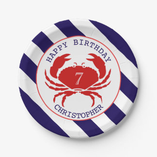 Nautical Crab Birthday Party Paper Plate