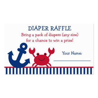 Nautical Crab Diaper Raffle Tickets Business Cards
