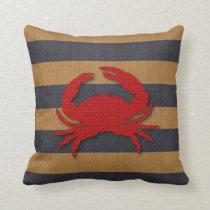 Nautical Crab & Faux Burlap Stripes Throw Pillow