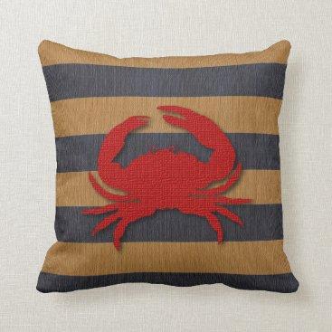 Beach Themed Nautical Crab & Faux Burlap Stripes Throw Pillow
