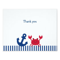 Nautical Crab Flat Thank You Note Cards
