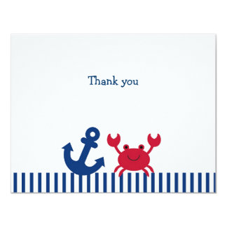 Nautical Crab Flat Thank You Note Cards Personalized Announcements
