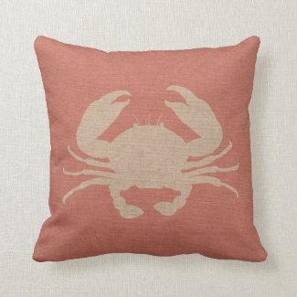 Nautical Crab in Coral Pink Pillows