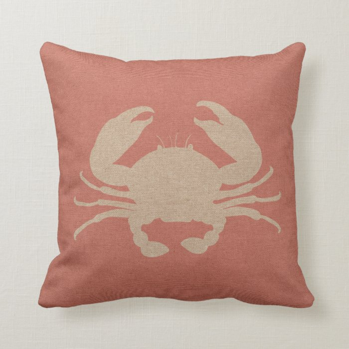 Coral Pink Throw Pillows : Nautical Crab in Coral Pink Throw Pillow Zazzle