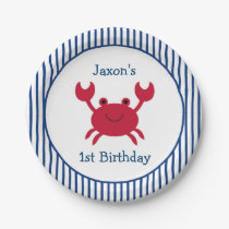 Nautical Crab Paper Plates
