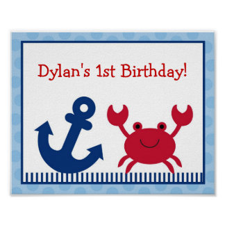 Nautical Crab Party Sign