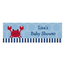 Nautical Crab Personalized Banner Sign Poster
