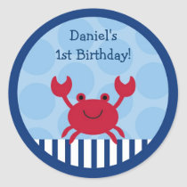 Nautical Crab Stickers Labels
