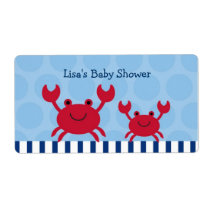 Nautical Crab Water Bottle Stickers Labels