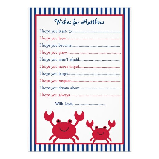 Nautical Crab Wishes for Baby Card