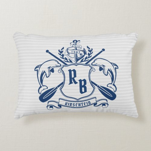 Nautical Crest Dolphins Anchor Oars Laurel Shield Accent Pillow