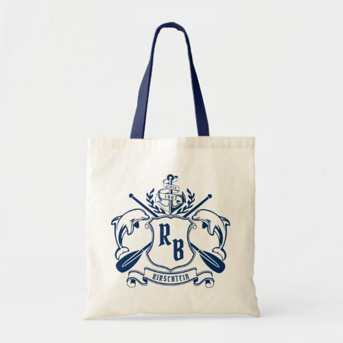 Nautical Crest Dolphins Anchor Oars Laurel Shield Tote Bag